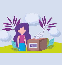 woman with box and ballot paper politics election vector image