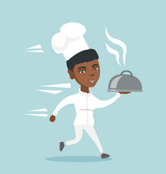 Young african-american chef cook running with dish vector
