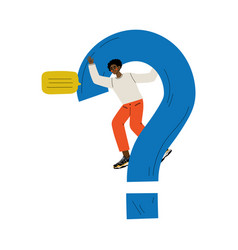 young man standing next to a big question mark vector image