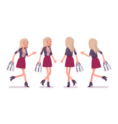 Young woman running and walking vector