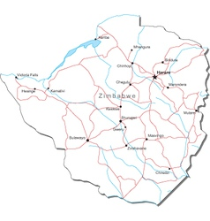 Zimbabwe Black White Map vector image