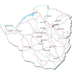 Zimbabwe Black White Map vector image