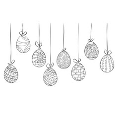 hand drawn easter card of hanging eggs doodle vector image