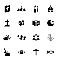 black religion icons set vector image