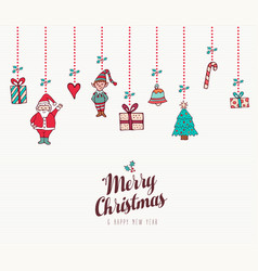 christmas and new year holiday ornament card vector image
