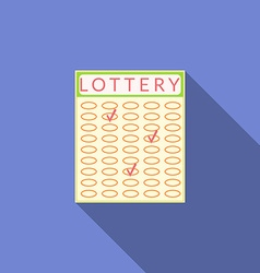 Flat design lottery icon with long shadow vector image