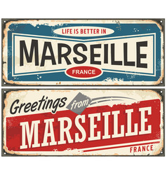 greetings from marseille france vector image