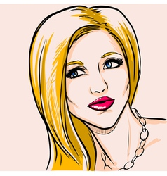Portrait adult fashionable woman with yellow hair vector image vector image