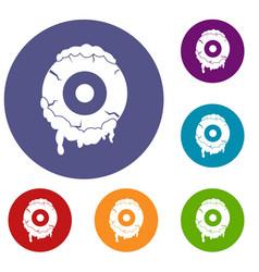 scary eyeball icons set vector image vector image
