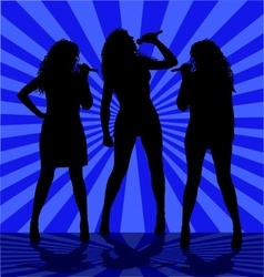 Woman singers on the blue vector image vector image