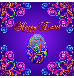 card for Easter eggs with ornament and precious vector image