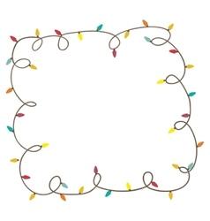 christmas lights frame icon image vector image