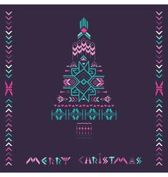 Christmas Tree - Tribal Vintage Aztec Theme vector image