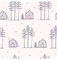 seamless pattern pine house vector image