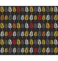 Seamless pattern with autumn leaves in line vector