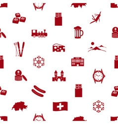 Switzerland country theme icons seamless pattern vector