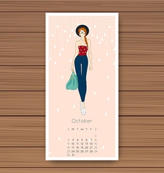 October Hand drawn fashion models calendar 2016 vector image vector image
