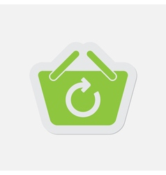 Simple green icon - shopping basket refresh vector