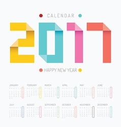 2017 Calendar colorful happy new year design vector image