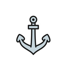 anchor nautical flat color line icon vector image