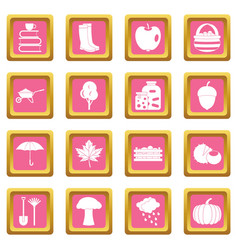 Autumn icons pink vector