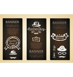 Banners with barber elements vector