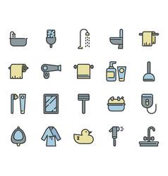 bathroom related icon set vector image