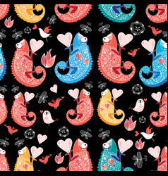 beautiful pattern love chameleons vector image