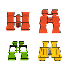 Binocular icon set color outline style vector