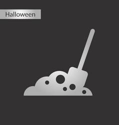 Black and white style icon halloween plot shovel vector