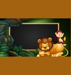 border template with lion and monkey vector image