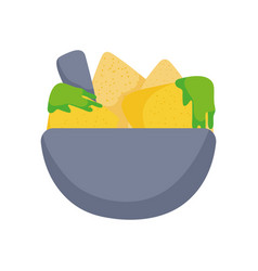bowl with guacamole and nachos food tradition vector image