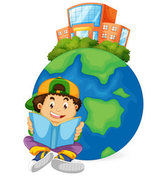 boy reading book with earth icon vector image