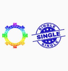 bright dotted cog icon and distress single vector image