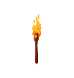 burning torch on wooden handle isolated ignite vector image