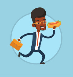 businessman eating hot dog on the run vector image