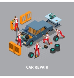 Car Repair Auto Center Isometric Composition vector image
