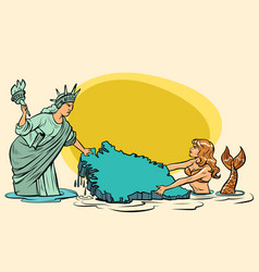 caricature usa and denmark are pulling greenland vector image