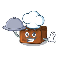 Chef with food brownies mascot cartoon style vector