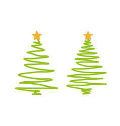 christmas tree icon hand draw on a white vector image