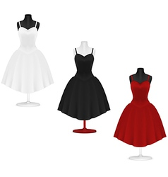 Classic womens plain dress template vector image