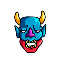 Colorful scary mask with blue red color and yellow vector
