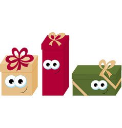 colorful wrapped smiling gift boxes with eyes vector image