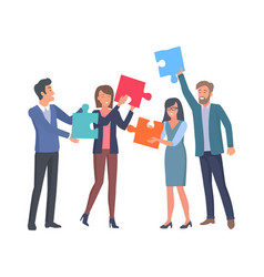 Coworkers with big puzzle parts in hands vector