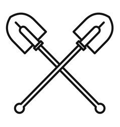 Crossed shovel icon outline style vector