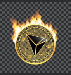 Crypto currency tron golden symbol on fire vector