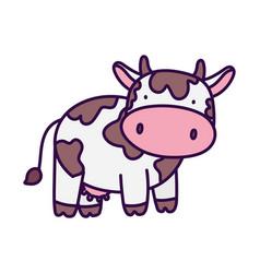 Cute cow livestock farm animal cartoon vector