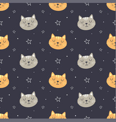 cute face cat seamless pattern vector image