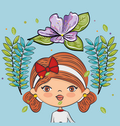 Cute girl character with floral decoration vector