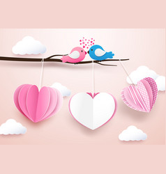 Cute heart shape mobile hanging with branches vector